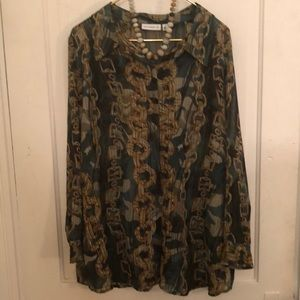 Susan Graver green gold chain blouse 2X